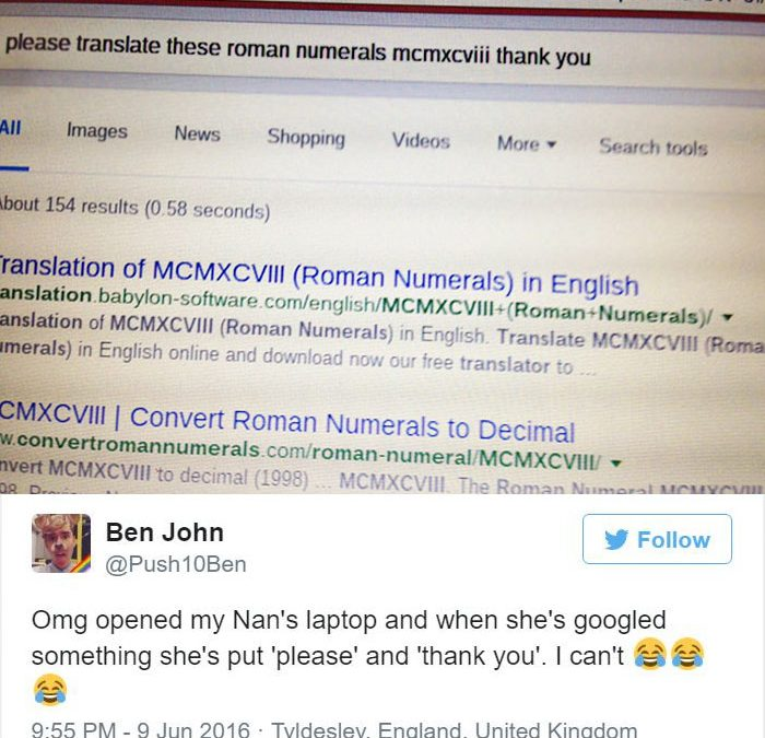 Guy Shares His 85-Year-Old Grannys Polite Google Search And It Goes Viral